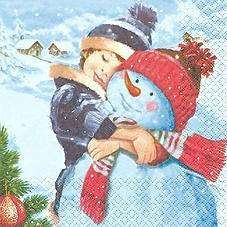 Junge mit seinem Schneemann - Boy & his snowman - Garçon & son bonhomme de neige