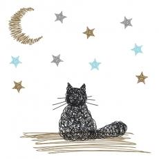 Katze bestaunt Mond und Sterne
