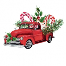 weihnachtlich geschmückter Pick up