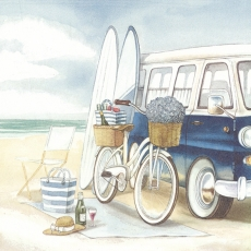 Picknick am Strand mit Bully, Fahrrad und Surfbretter