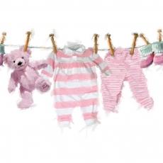 Baby Strampler, Hose, Schuhe und Teddy auf der Wäscheleine in rosa