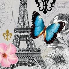 Blauer Schmetterling besucht den Eifelturm, Blüten und Stempel
