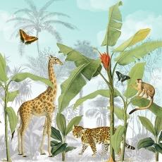 Affe, Giraffe, Tiger, Schmetterlinge und Palmen
