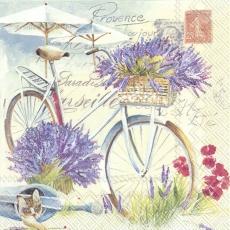 Lavendel, Fahrrad, Briefmarken, Gieskanne, Katze, Mohn, Sonnenschirm und Geschriebenes