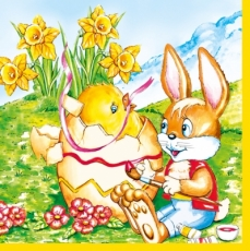 Beim Bemalen geschlüpft - Easter bunny and freshly hatched chick - lapin de Pâques et de poussins fraîchement écloses