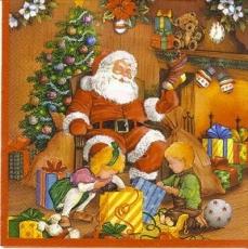 Kinder beim Weihnachtsmann - Children with Santa Claus - Enfants à  Père Noël