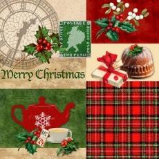 24 Dezember, Tee, Kaffee, Kuchen, Uhr, Briefmarke mit Weihnachtsmann - Cozy country christmas - 24 décembre, thé, café, gâteaux, regarder, timbre avec le Père Noël