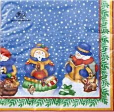 Kleiner Vogel bei den 5 Schneemännern - Small bird with 5 snowmen - Petit oiseau avec 5 bonhommes de neige
