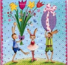 3 Hasen, Osterfeier, Ostereinladung - 3 rabbits, Easter party, Easter Invitation - 3 lapins, fête de Pâques, Invitation de Pâques