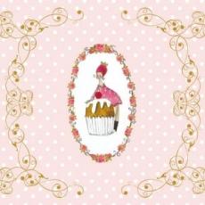 2x cupcake, 1x Reh, 1x Frau mit Herzblume