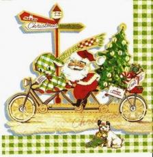 Santa auf Fahrrad & Hund- Santa on a bike & Dog - Père Noël à vélo & Chien