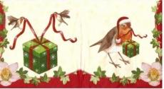3 Rotkehlchen, Geschenke & Christrose - 3 robins, gifts & christmas rose - 3 merles, cadeaux de Noël & augmenté