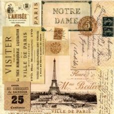 Besuch in Paris, Eiffelturm, Notredame, Postkarte - Visit to Paris, Eiffel Tower, Notre Dame, postcard - Visite de Paris, la Tour Eiffel, Notre Dame, carte postale