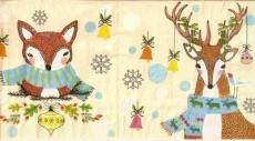 Fuchs und Hirsch mit Baumschmuck klein - Fox and deer with tree ornaments - Fox et le cerf avec des ornements darbre