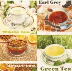 8 wunderschöne Tassen mit verschiedenen Teesorten - 8 beautiful cups with different types of tea - 8 belles coupes avec différents types de thé