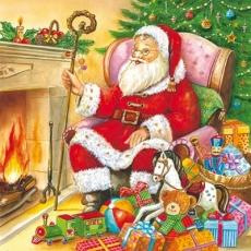 Santa am Kamin mit Geschenken - Santa by the fireplace with gifts - Père Noël par la cheminée avec des cadeaux