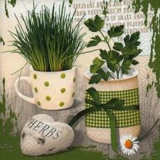 Kräuter in Tassen, Herz - Herbs in cups, heart - Herbes dans des tasses, coeur