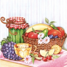Früchtekorb, Kaffee mit Sahne, Marmelade - Fruit basket, Coffee with cream, jam - Corbeille de fruits, café à la crème, confiture
