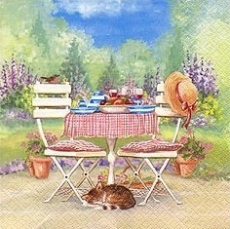 Katze, Vogel, Gartentisch - Cat, bird, garden table - Chat, oiseau, table de jardin