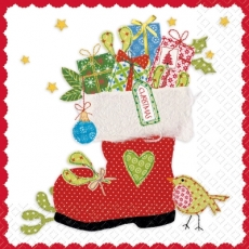 Weihnachtsstiefel, Geschenke & Vogel - Christmas boot, Presents & bird - Botte de Noël, Présents & oiseau