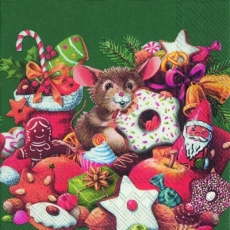 Kleine Maus bei den Weihnachtsleckereien, grün - Little mouse at the Christmas goddies, green - Petite souris aux friandises de Noël, vert