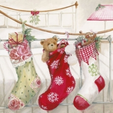 Weihnachtsstrümpfe mit Geschenken & teddy - Christmas stockings with gift & plush bear - bas de Noël avec cadeaux et ours en peluche