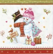 Rotkehlchen besucht Schneemannpaar - Robin visits snowman couple -  rouge-gorge visite le couple de bonhomme de neige