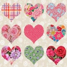 9 Herzen mit Rosen, Blumen und Mustern - 9 hearts with Flowers, pattern & roses - 9 coeurs avec des fleurs, motif et roses