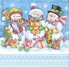 3 Schneemmänner, Geschenke & kleiner Vogel - 3 Snowmen, gifts & little bird - 3 Bonhommes de neige, cadeaux & peu doiseau3 Bonhommes  neige, cadeaux & peu doiseaude