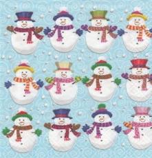 12 Schneemänner warm angezogen und viele Schneebälle - 12 snowmen warmly drawn and many snowballs - 12 bonhommes de neige chaudement de manière attirée et beaucoup de balles de neige
