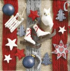 Eule, Schlittschuh, Weihnachtskugel, Gestricktes, Schlitten..... - Owl, ice skate, Christmas ball, knitted, sleigh ... - Chouette, hibou, glace, boule de Noël, tricot, glisser .....
