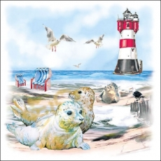 Strand, Möwen, Leuchtturm, Hund, Meer, Robben - Beach, Seagulls, Lighthouse, Dog, Sea, Seals - Plage, mouettes, phare, chien, mer, phoques