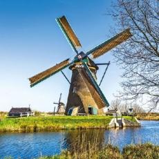 Windmühlen am Wasser, Holland - Windmills by the sea, Netherlands - Moulins à vent par la mer, Pays-Bas
