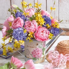 Hübscher Strauß mit Tulpen, Flieder, Pfingstrosen & Forsythien - Pretty bouquet with tulips, lilacs, peonies & forsythia - Joli bouquet de tulipes, de lilas, pivoines et forsythia