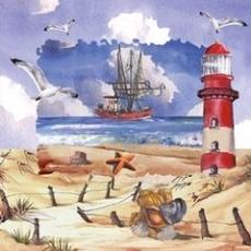 Strand, Möwen, Leuchtturm Schiff - Beach, seagulls, lighthouse ship  - Plage, mouettes, phare le bateau