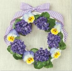 Blumenkranz mit Stiefmütterchen & Veilchen - Floral wreath with pansies & violets - Couronne de fleurs avec la pensée & violette
