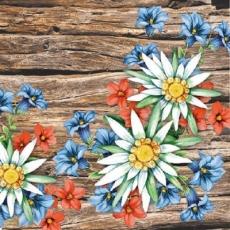 Holzbalken, Enzian, Edelweiß, Alpenblumen - Wooden beams, gentian, white, flowers from the Alps, mountains - Poutres de bois, gentiane, edelweiss, fleurs des Alpes, des montagnes