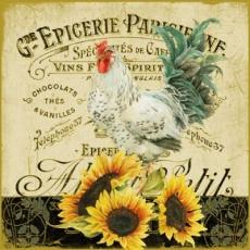 Hahn, Sonnenblumen & Geschriebenes - Rooster, Sunflowers & Writing - Coq, tournesols et écriture