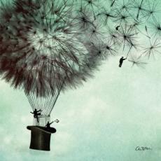 Ein Phantasieballon aus Löwenzahnschirmchen - A fantasy balloon made of dandelion umbrellas - Un ballon fantastique en parapluie de pissenlit