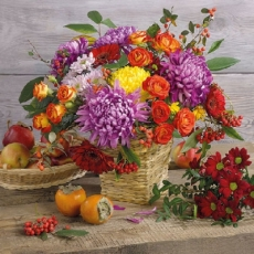 Farbenprächtiger Blumenstrauß, Früchte, Beeren und Holz - Colorful bouquet of flowers, fruits, berries and wood - Fleurs superbes couleurs, fruits, baies et bois