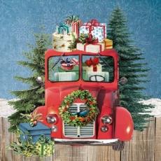 Auto, Tannenbäume, Geschenke, Ilexkranz, Blaumeise... - Car, fir-trees, presents, holly wreath, blue tit... - Car, arbres de Noël, cadeaux, couronne de houx, mésange bleue ...