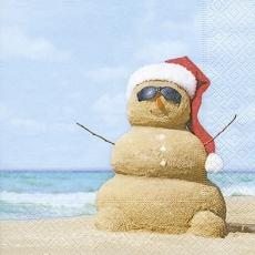 Sandschneemann am Strand - Sand snowman at the beach - Bonhomme de neige de sable à la plage