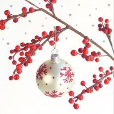 Beerenzweig mit Weihnachtskugel - Berry branch with Christmas ball - Branche de bière avec boule de Noël