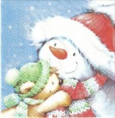Kleiner Teddy & Schneemannfreund - Little teddy and snowman friend - Petit nounours et ami de bonhomme de neige