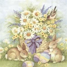 Margeritenstrauß, Vogel, Hasen & Ostereier - Daisy Bouquet, Bird, Rabbit & Easter Eggs - Bouquet de marguerites, oeufs doiseaux, de lapin et de pâques