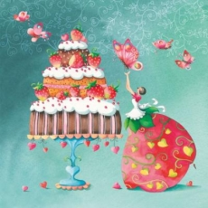 Frau, Kuchen, Erdbeeren, Herzen, Schmetterlinge - Cake, Strawberries, Woman, Hearts, Butterflies - Femme, gâteau, fraises, coeurs, papillons