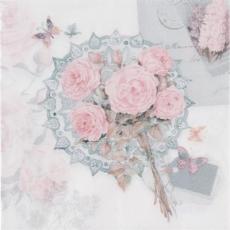 Nostalgisch, romantischer Brief, Rosen und Schmetterlinge - Nostalgic, romantic letter, roses and butterflies - Nostalgique, romantique lettre, roses et papillons -