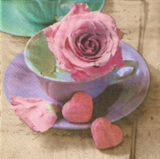 Brief, Rosen, Tasse & Herzen - Letter, Rose, Cup & Hearts - Lettre, roses, tasse et coeurs