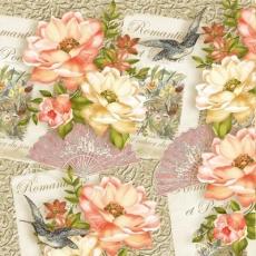 Rosen, Fächer, Vögel, Romantisme et Poesie - Roses, Fans, Birds, Romantic and Poetry - Roses, fans, oiseaux, Romantisme et Poésie