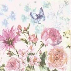 2 Schmetterlinge im Blumengarten mit Rosen - 2 butterflies in the flower garden with roses - 2 papillons dans le jardin de fleurs avec des roses